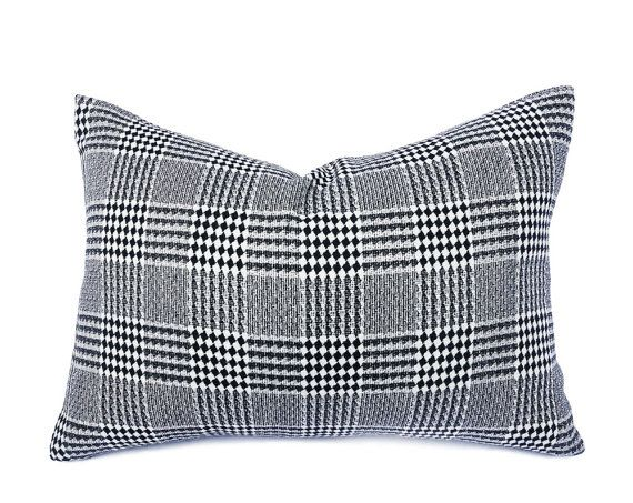 Black White Plaid Throw Pillow Diamond Plaid Wool Pillow Cover