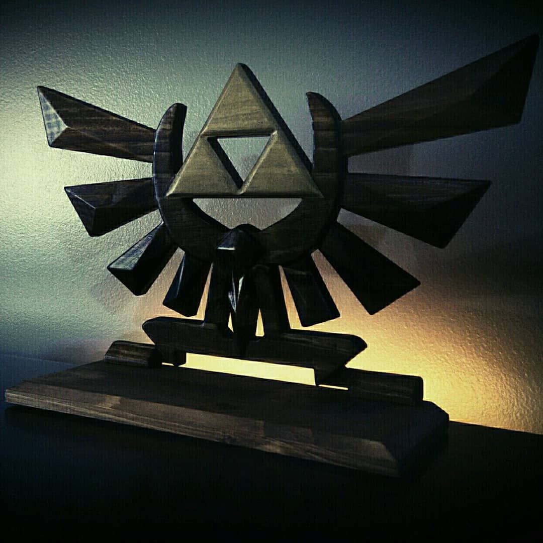 Zelda triforce video game cartridge display stand wood carved
