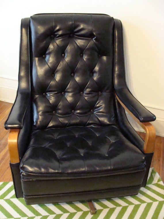 SALE Big Retro Lounge Chair Vintage Tufted Black & by studio180, $250.00