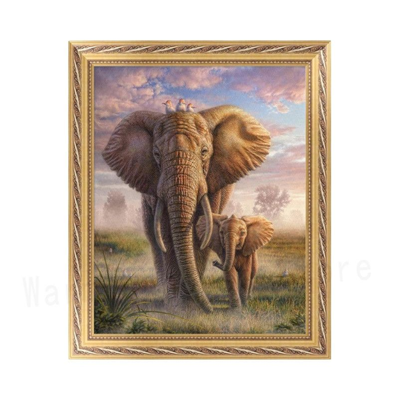 5D Full Drill Diamond Painting Cross Stitch Embroidery Xmas Elephant Family DIY