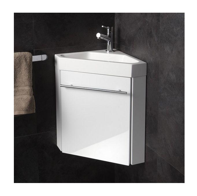 Lave-mains d\u0027angle complet pour WC avec meuble design blanc - Salle