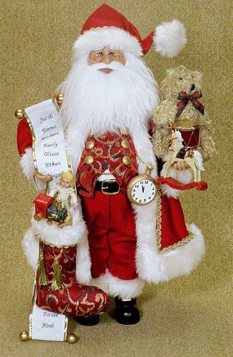 Santas  Santa with Christmas Stocking  Gifts  Doll Drum and Teddy Bear ** You can find more details by visiting the image link.