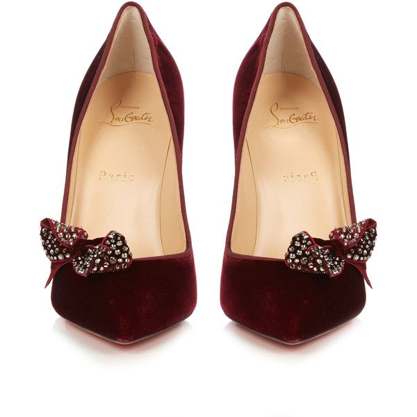 eb24ffee48 Christian Louboutin Madam Menule 100mm velvet pumps ($895) ❤ liked on  Polyvore featuring shoes, pumps, christian louboutin pumps, holiday shoes,  ...