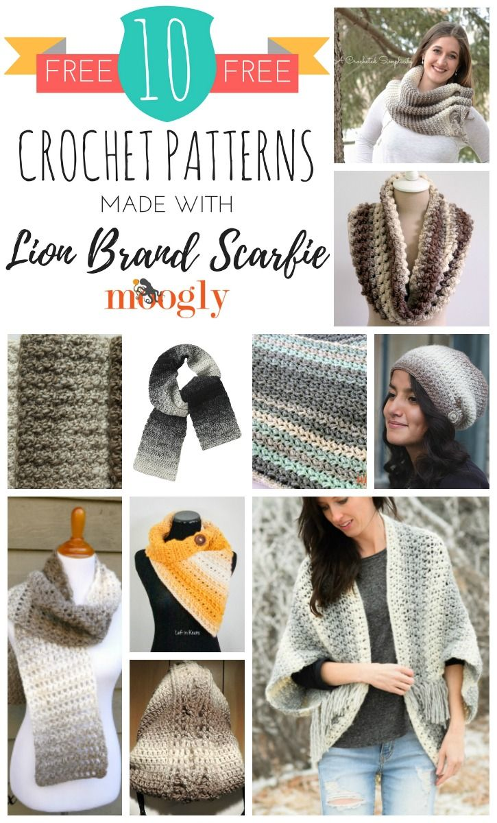 10 Free Crochet Patterns Made With Lion Brand Scarfie | Tejidos ...