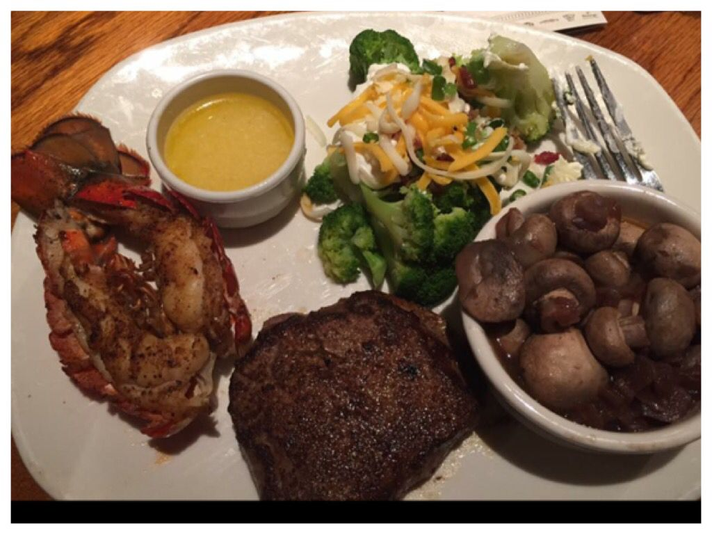 Outback Steakhouse, filet minon with lobster tail grilled vegetables ...