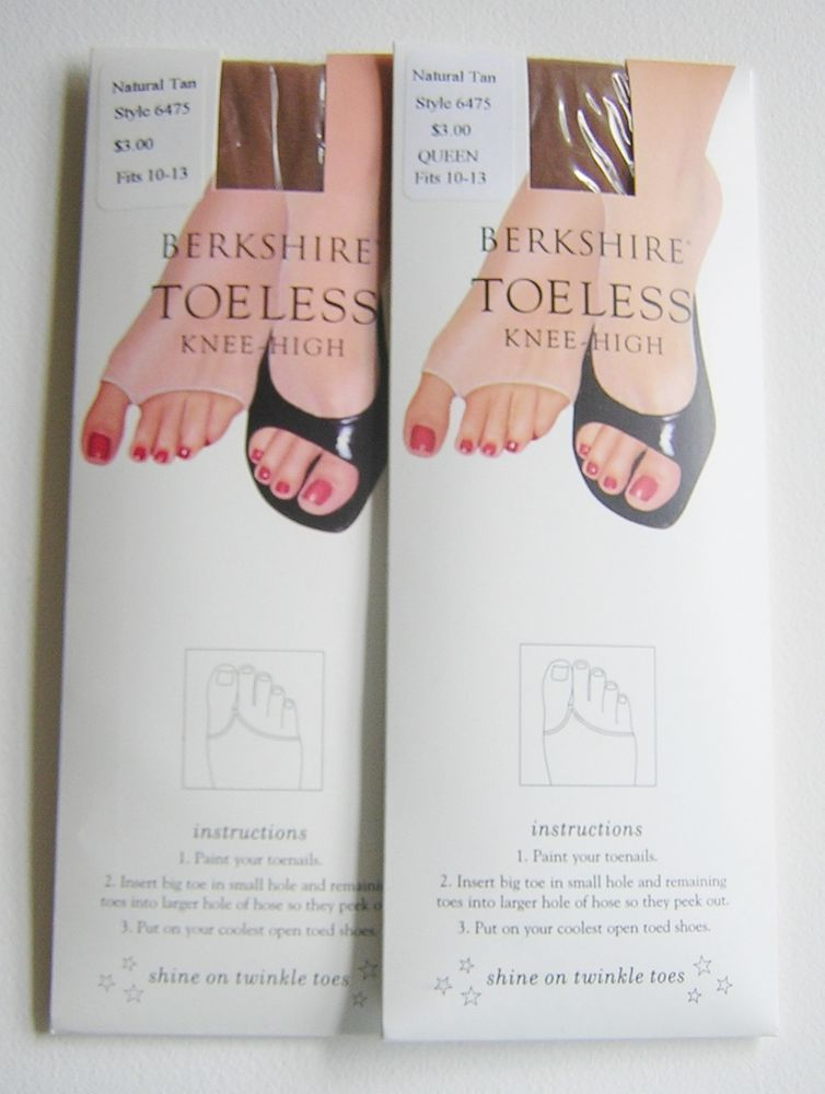 2 PR BERKSHIRE TOELESS KNEE-HIGHS Style 6475  Natural Tan Size 10-13 #Berkshire