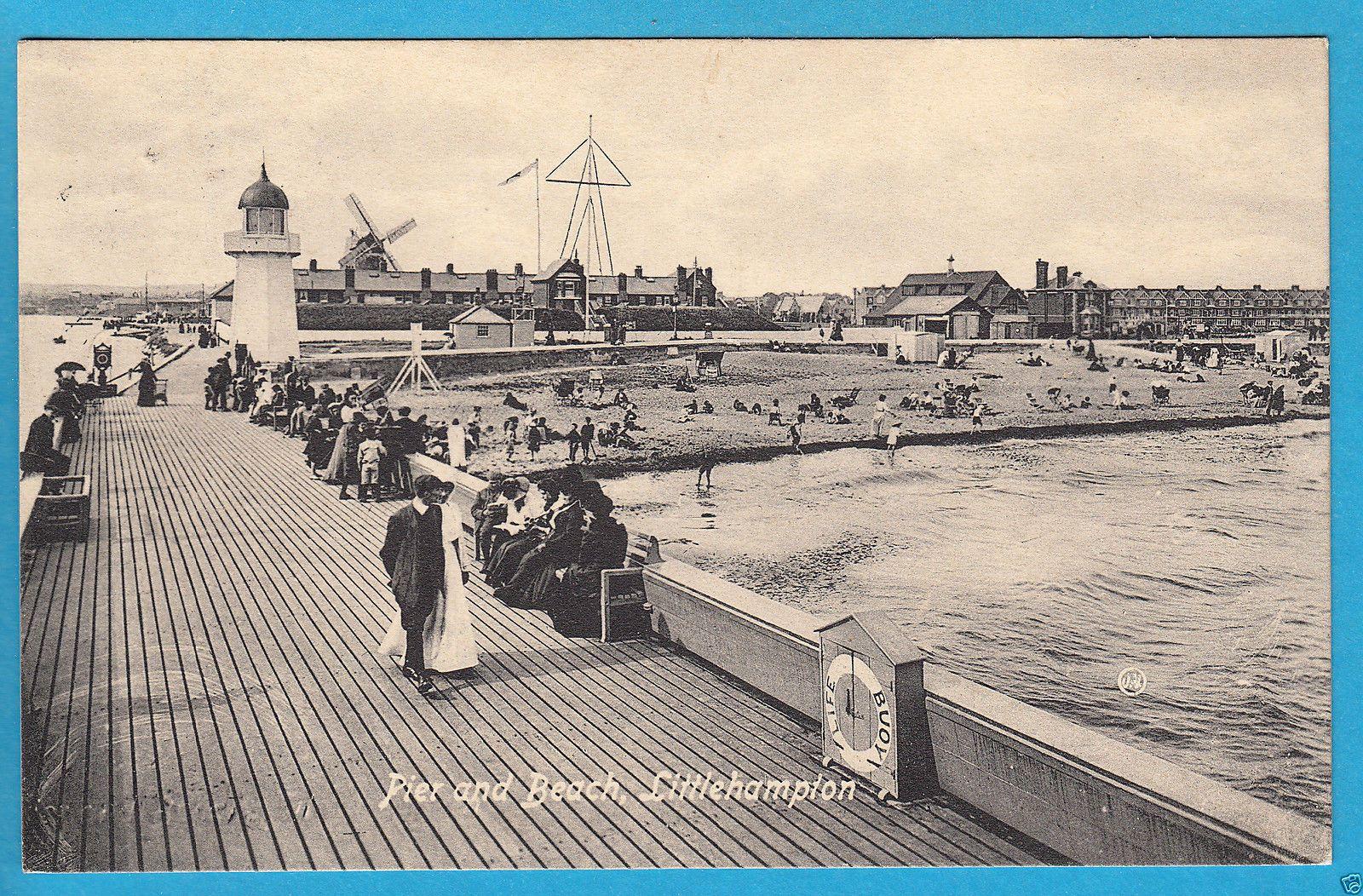 sussex pier and beach littlehampton windmill beyond pc pu 1913