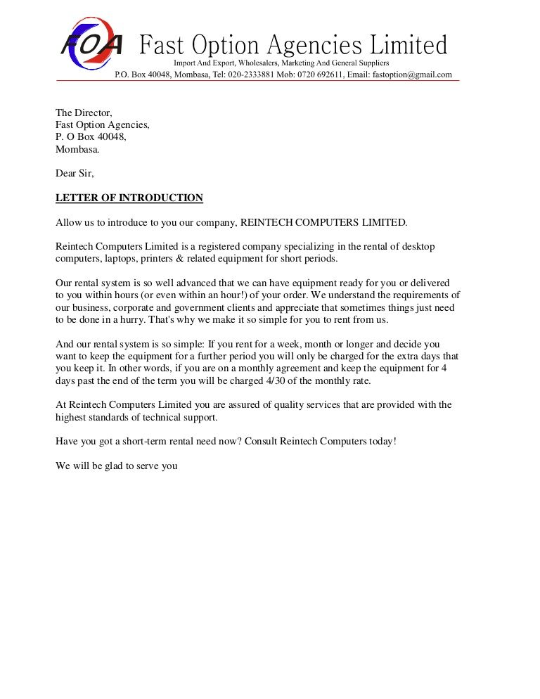 Sample business introduction letter | Introduction letter ...