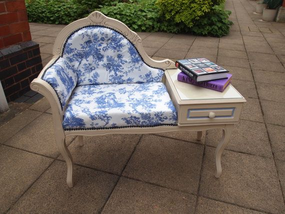 SOLD Upcycled Telephone Table Seat   Annie Sloan Chalk Paint And Vintage  Fabric