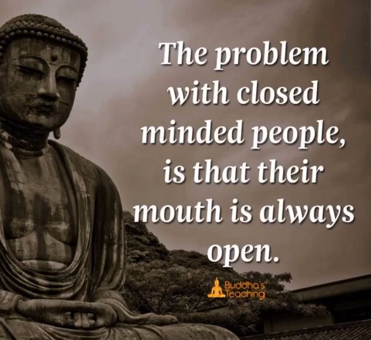 The Problem With Closed Minded People Is That Their Mouth Is Always Open Buddhism Quote Wisdom Quotes Buddha Quote