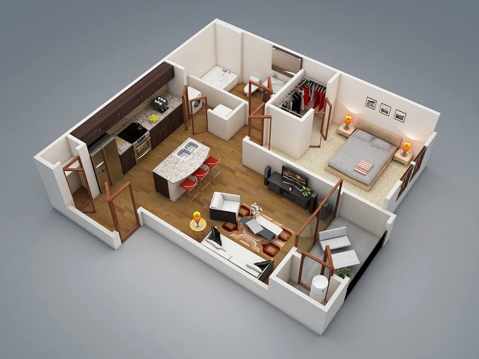 Pin By Lia Valdez On 2d 3d Floor Plan Guide One Bedroom House One Bedroom House Plans 1 Bedroom House Plans