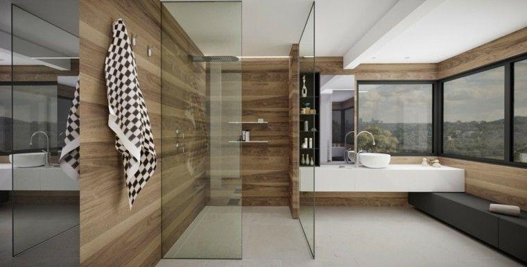paredes de madera en el baño moderno | Ideas para el hogar ...