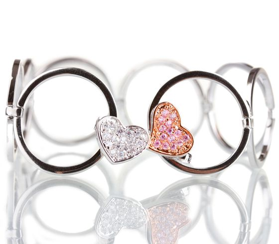 "Браслет с цирконами ""Романтика"", JG США | romantic bracelet #hearts"