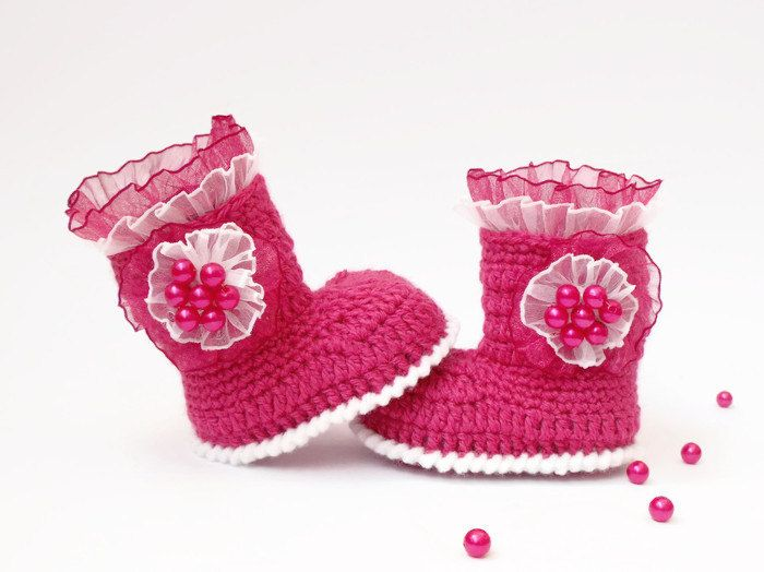 Baby girl booties crochet
