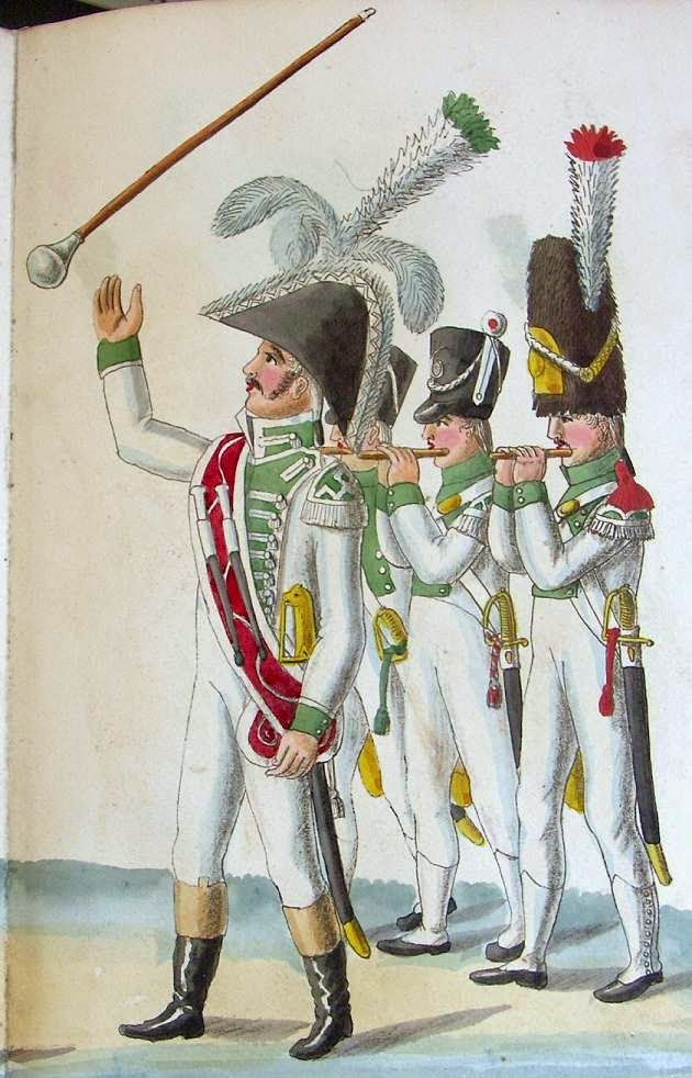 Dutch Drum Major and Fifers of fusilier and Grenadier Companies 2nd Battalion 6th Line Infantry.