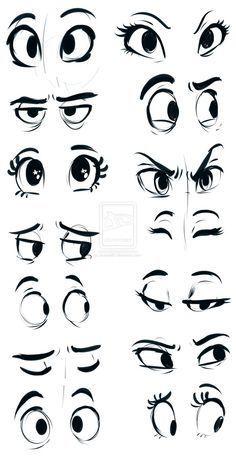 how to draw eyes easy cartoon