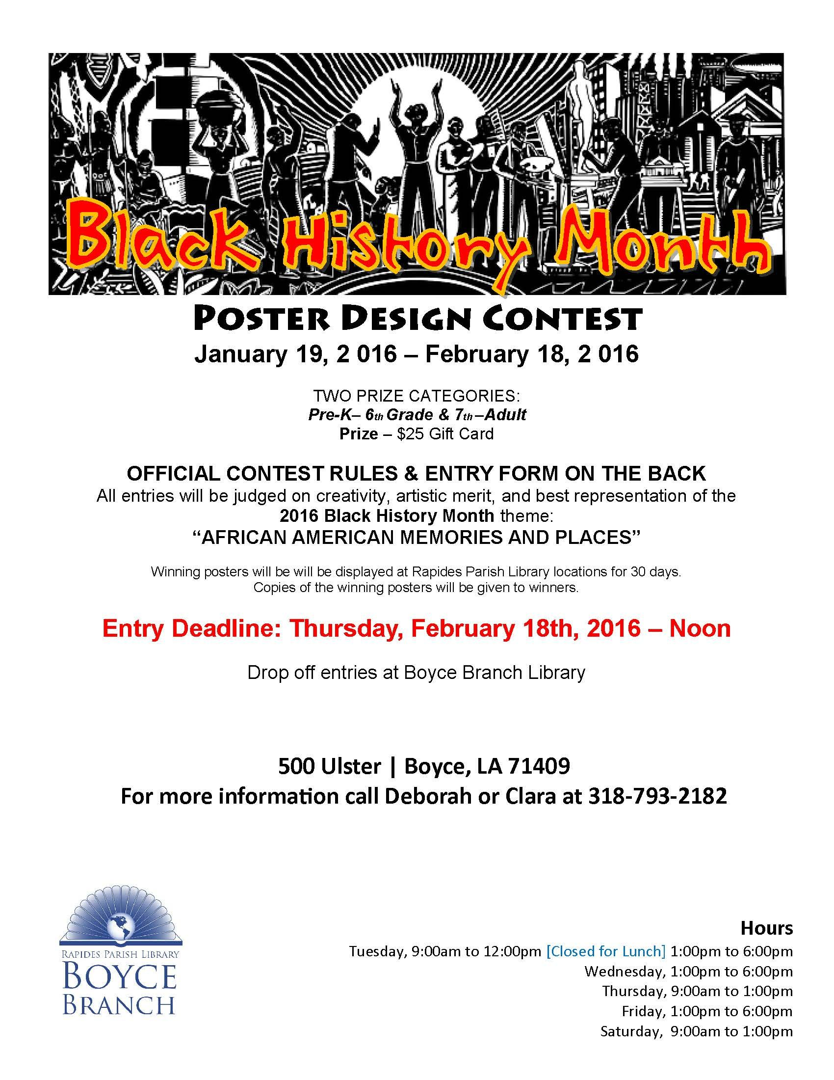 Poster design contest 2016 - Boyce Branch Black History Month Poster Design Contest Pick Up The Rules And Entry