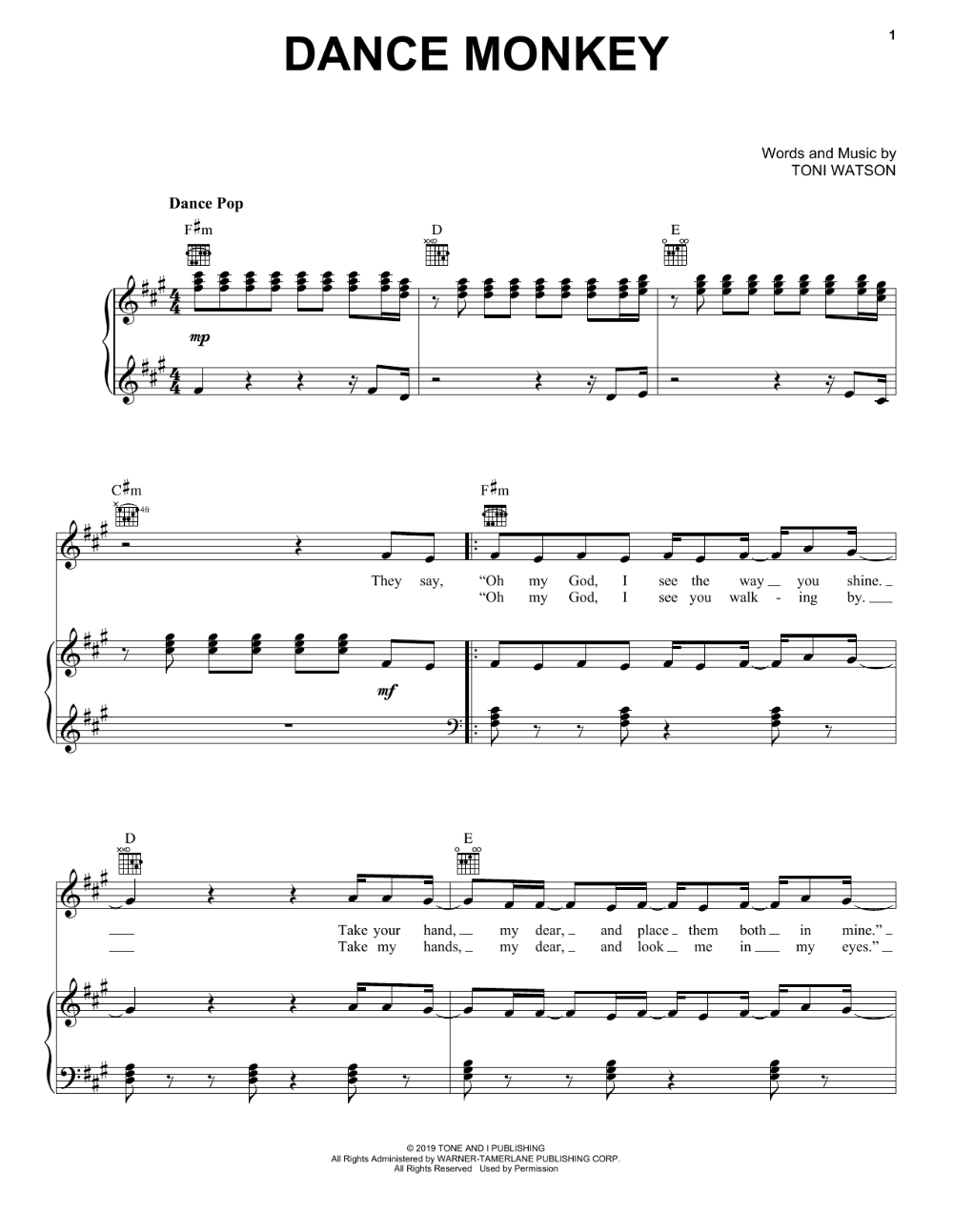 Tones And I Dance Monkey Sheet Music Notes Chords Score Download Printable Pdf Piano Sheet Music Letters Piano Sheet Music Free Sheet Music Notes