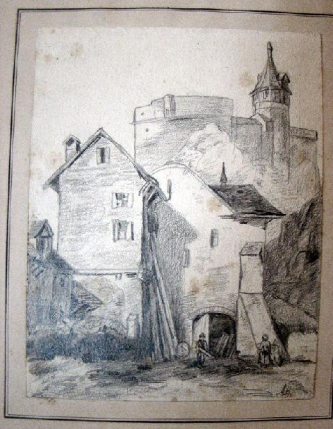 """This is the Adolph Hitler Pencil Sketch  titled; """" Town Gate By Cathedral"""".     It measures 155 cm x 190 cm  ( 6 x 8 inches ) on a 225 cm x 280 cm (9 x 11 inches) period mat.  foreground."""