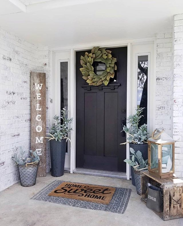 Cozy Entryway Ideas: Black Craftsman Front Door With Windows. Cute Cozy