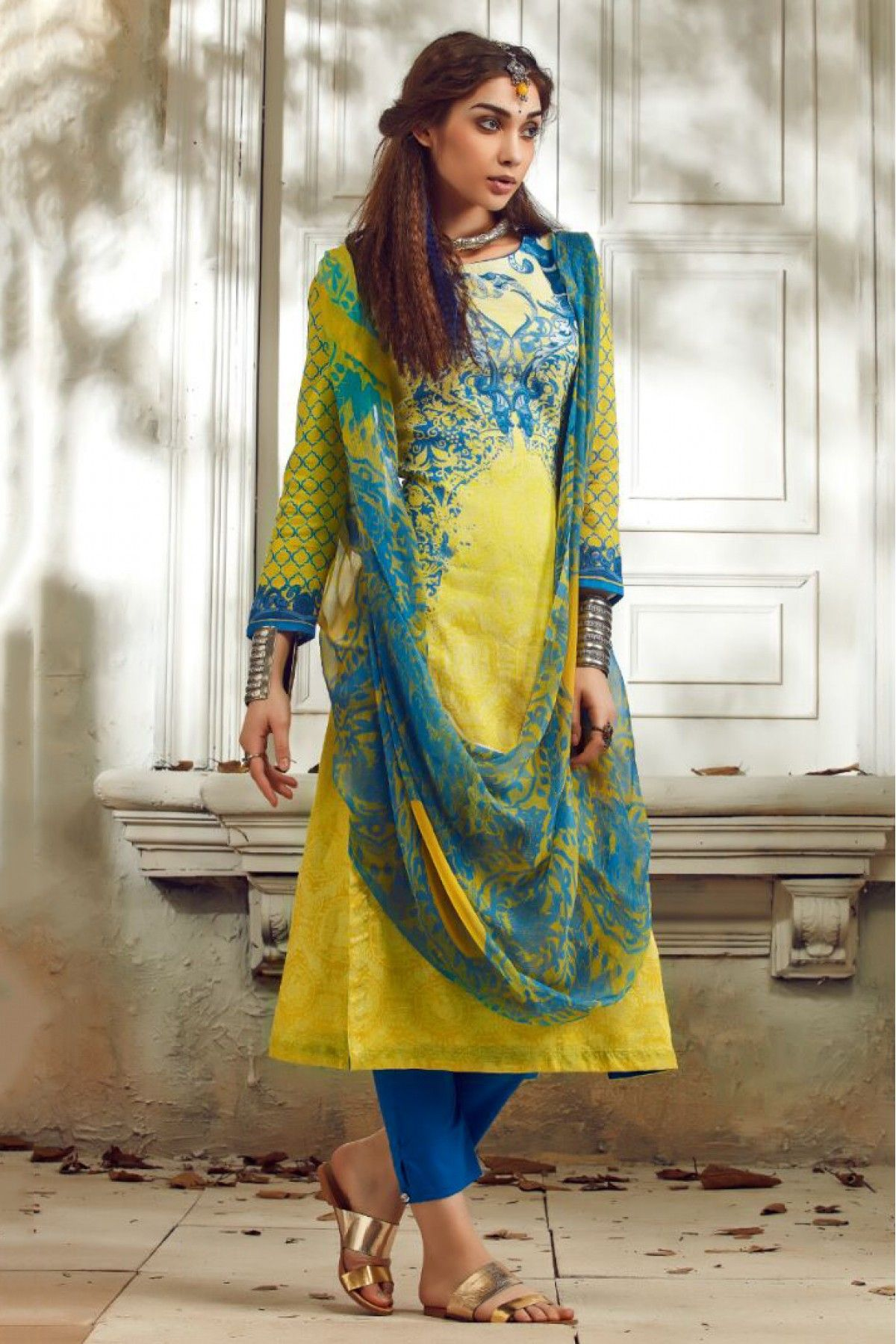 51789747f7 Yellow and Blue Colour Linen Fabric Party Wear Unstitched Pakistani Suit  Comes With Matching Bottom and Dupatta Fabric. This Suit Is Crafted With  Digital ...