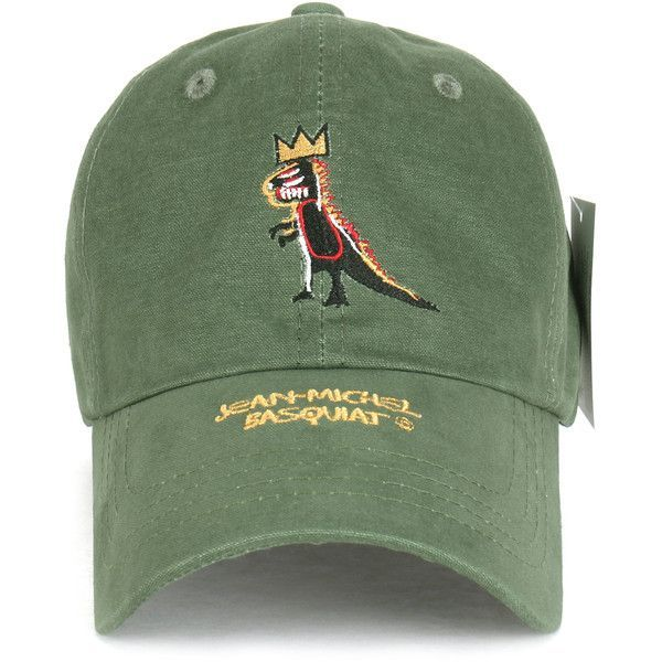 51dd7042 Jean-Michel Basquiat Dinosaur Crown Embroidery Adjustable Hat Baseball...  (55 ILS) ❤ liked on Polyvore featuring accessories, hats, adjustable ball  caps, ...