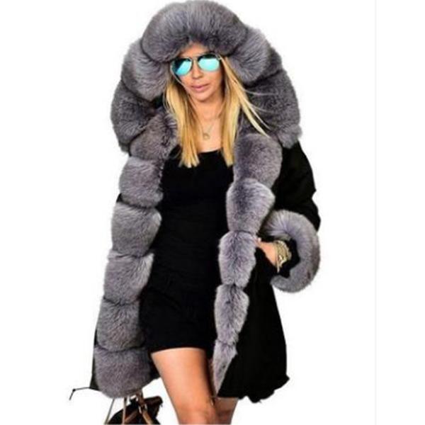 22dfa0aa52d Women Ladies Winter Long Warm Thick Parka Faux Fur Jacket   *Jackets ...