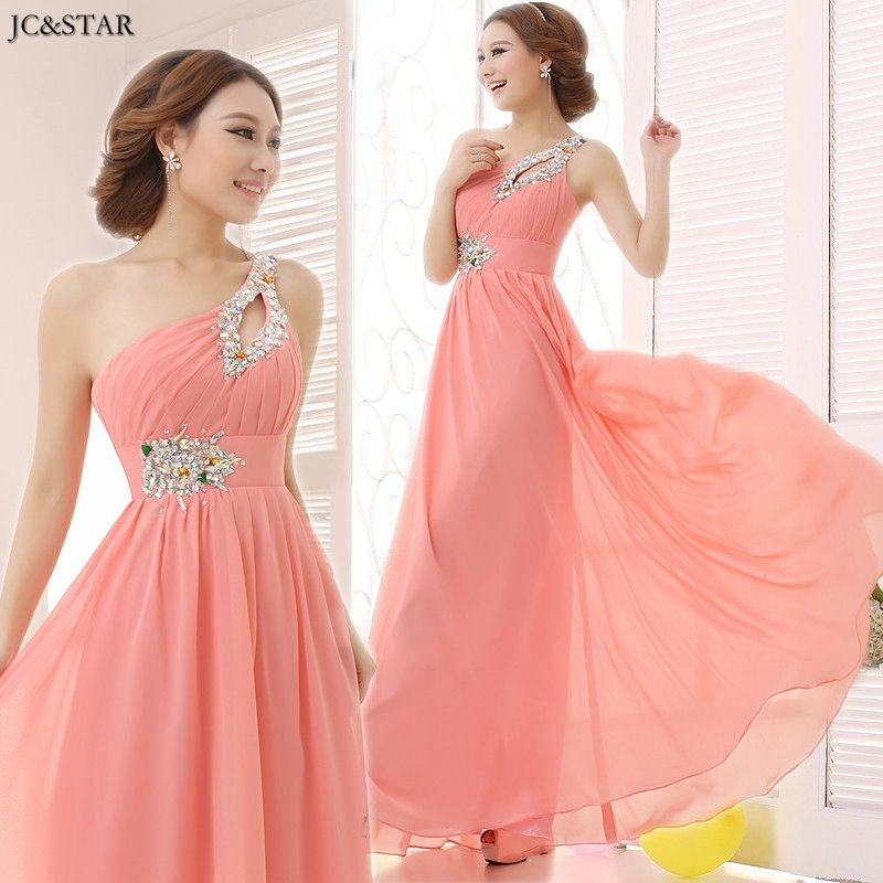 Jcstar Custom Colors And Sizes One Shoulder Coral Colored And
