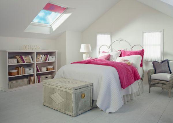 kleine schlafzimmer kreativ gestalten weiße rattan truhe pinke - kleine schlafzimmer ideen