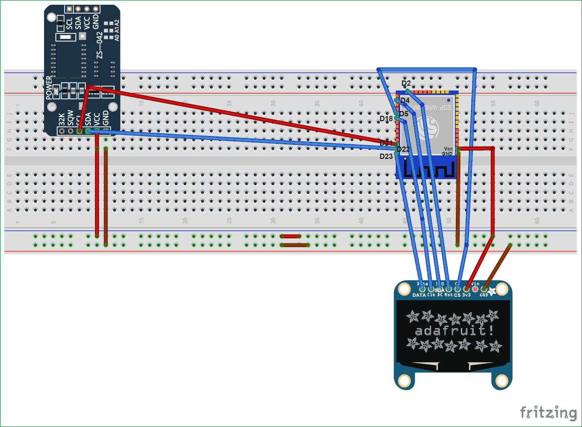 DS3231 Module based ESP32 Real Time Clock circuit diagram
