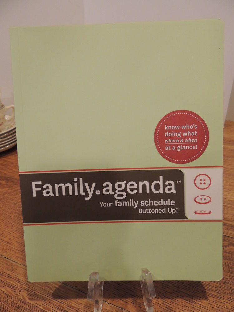 Buttoned Up Family Agenda  Month Undated Household Calendar