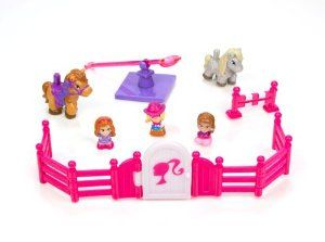 Squinkies Equestrian Set Playset by Squinkies. $12.99. Have fun, and trade with your friends. 2 Tiny Toys ponies. Help Barbie as she trains her ponies in their practice jumps, when the day is through, open the gate and corral the ponies for a well-deserved rest. Includes 3 exclusive Squinkies figures. Collect them all. From the Manufacturer                Join Barbie, Theresa and Summer on the Ranch as they train for the Equestrian Competition.