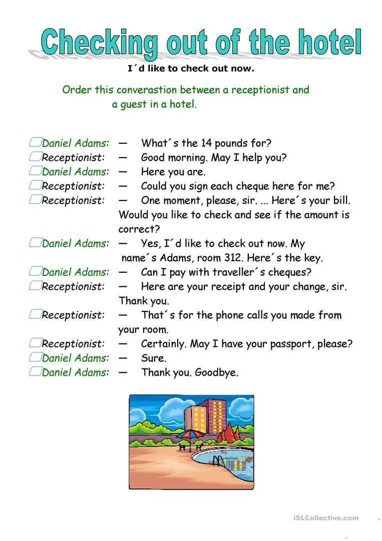 Checking Out Of The Hotel Worksheet Free Esl Printable Worksheets Made By Teachers Learn English Words English For Tourism English Learning Spoken