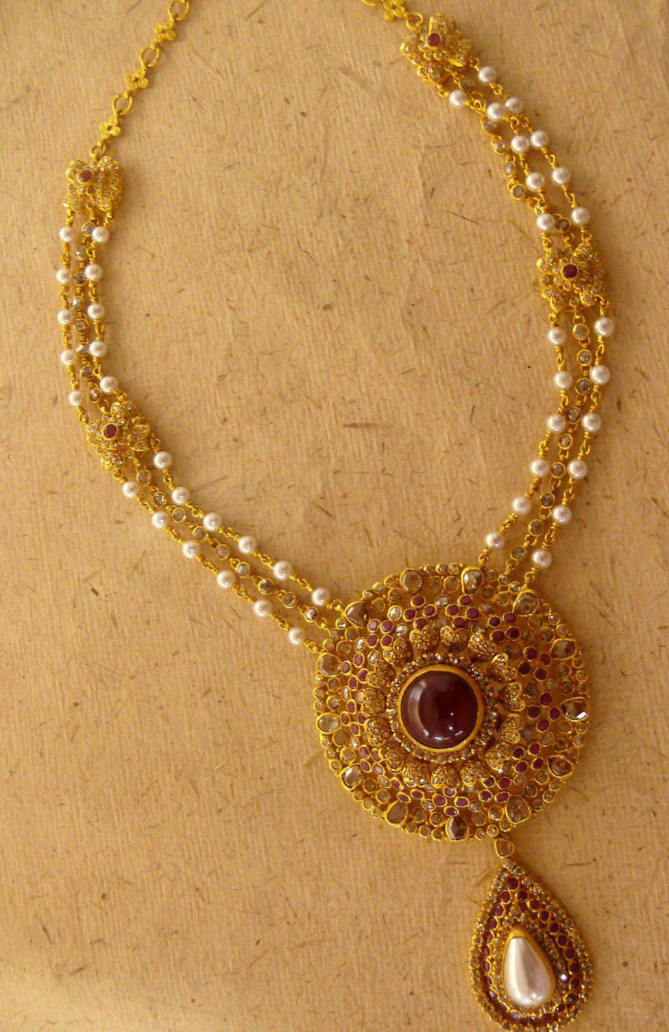Find This Pin And More On Jewellery Imgs For > Indian Traditional Gold  Necklace Designs
