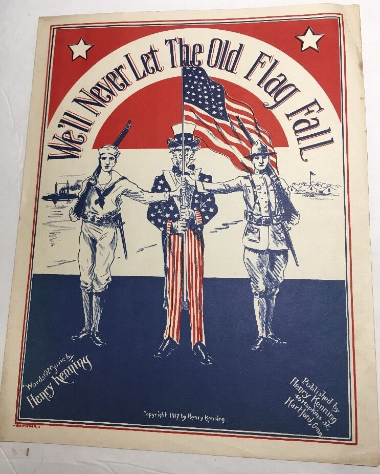 Sheet Music Stand By Your Colors American Flag Patriotic Wall Art WWI Uncle Sam