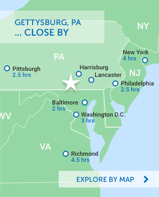A Gettysburg Getaway Immersed in Civil War History | Post ... on gettysburg pennsylvania on us map, pennsylvania regions map, gettysburg manufacturing map, downtown gettysburg pa map, norhteast and southeast map, gettysburg trail map, winery map, gettysburg tourism map,