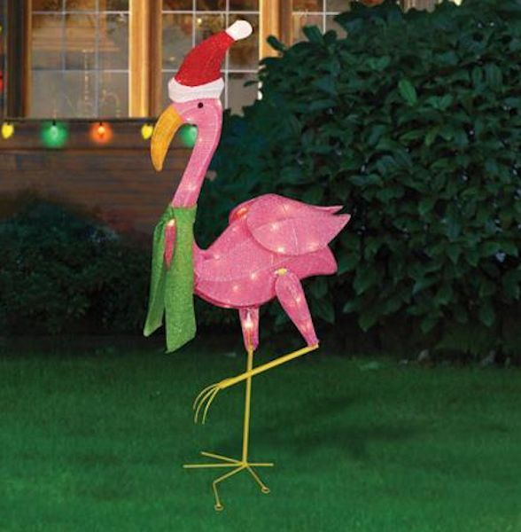 pink flamingo santa winter christmas lighted yard lawn decoration sculpture new holidaytime