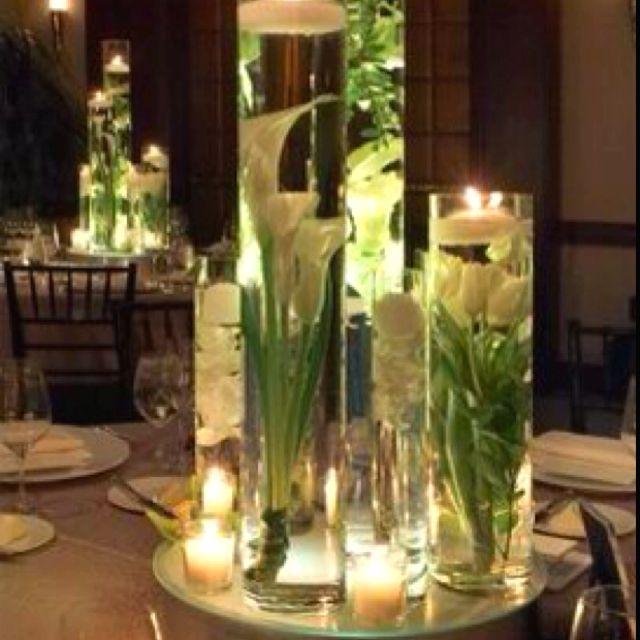 Floating Lily Centerpiece Ideas: Submerged Floral Centerpieces With Candlelight