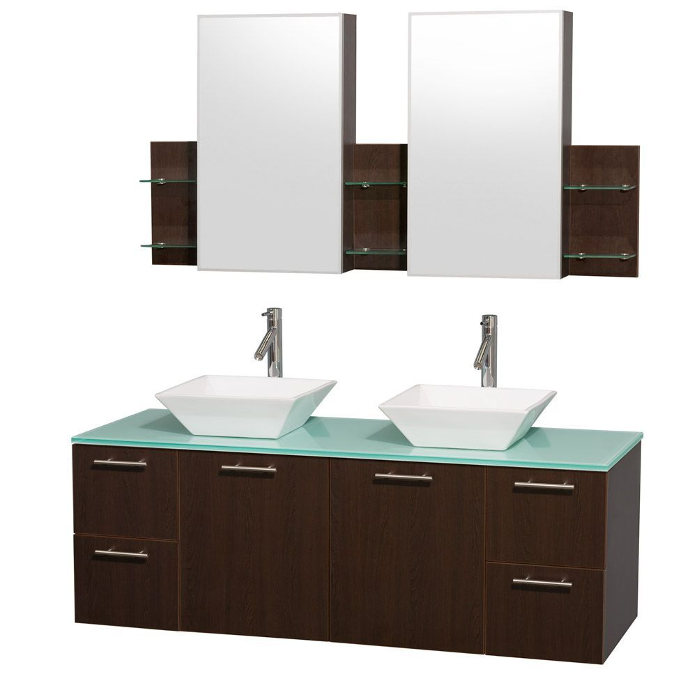 Wyndham Collection Amare 60 Inch Espresso Green Top White Sink