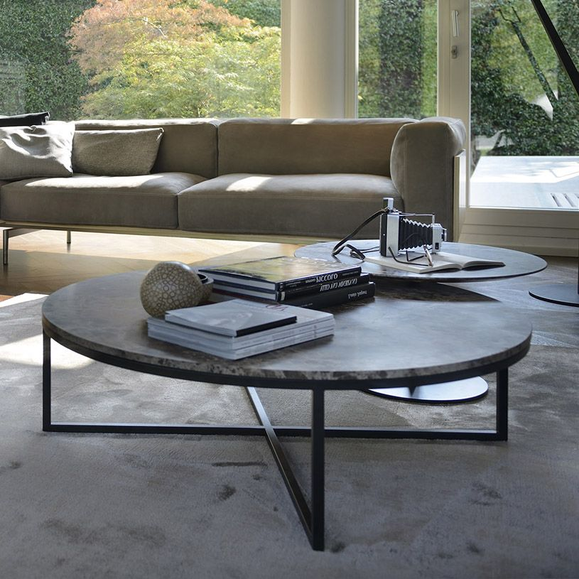 Porto Round Marble Coffee Table In Br Copper Or Brushed Stainless Silver With Carrara Uk