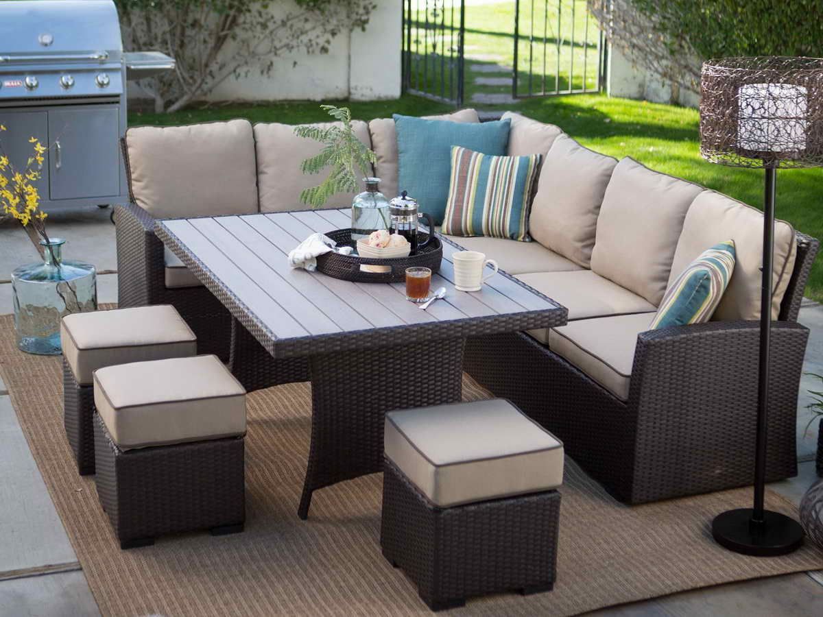 Patio Dining Sets On Sale With L Shape Design Chair Also Outdoor Carpet Design And Ornate Candle Stand With Patio Patio Dining Set Patio Dining Patio Sectional