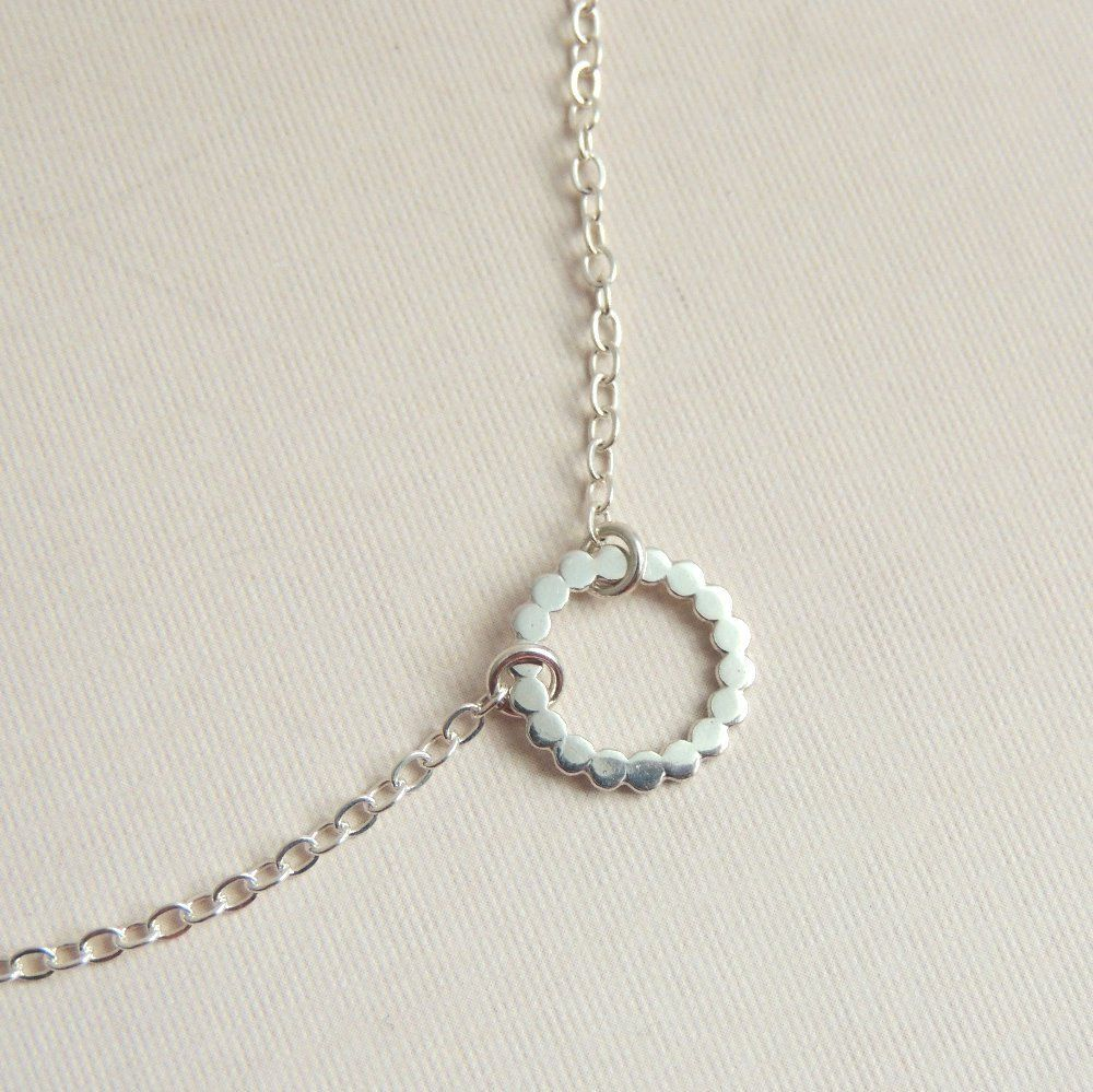 9257de7302d76c Eternity Necklace Small Sterling Silver Circle Necklace Beaded Silver on  Etsy