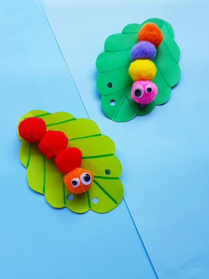 Pom pom caterpillar craft for kids. An adorable bug craft perfect for smaller kids and preschoolers