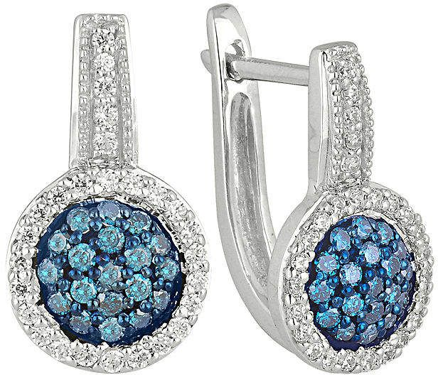 Fine Jewelry 1/2 CT. T.W. White & Color-Enhanced Blue Diamond 10K White Gold Hoop Earrings nrb3TOHQyH