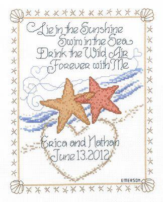 starfish wedding cross stitch pattern