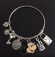 Disney World Make A Wish Stainless Steel Mickey Mouse Love Heart Charm Bracelet