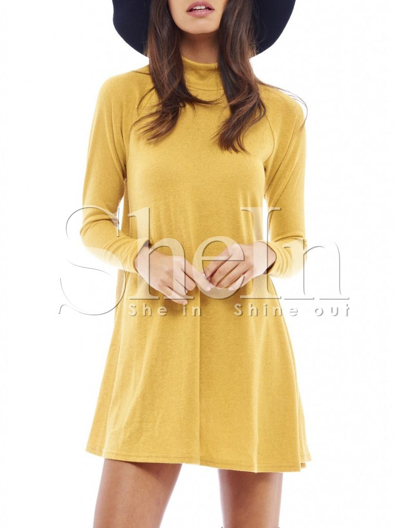 Shop yellow long sleeve casual dress online shein offers yellow