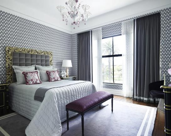 Gray Bedroom With Purple Accents gray and purple in the bedroom for a relaxed and luxurious aura