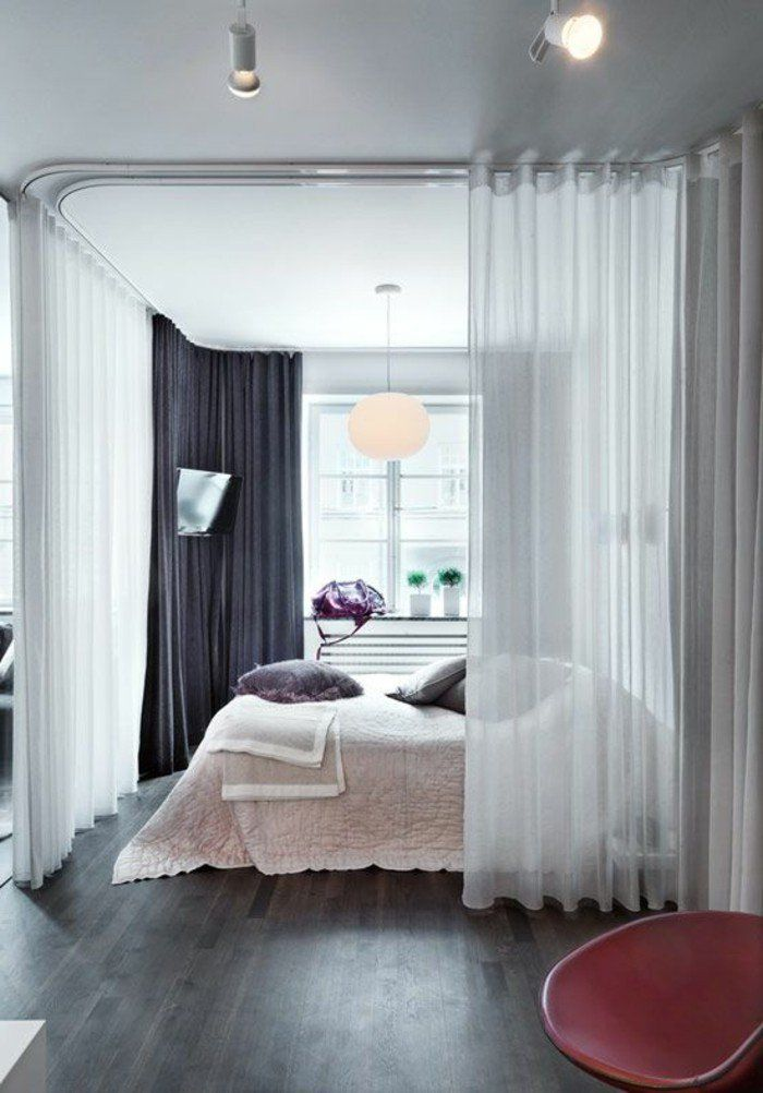 la s paration de pi ce amovible optez pour un rideau trajet rail et desirer. Black Bedroom Furniture Sets. Home Design Ideas