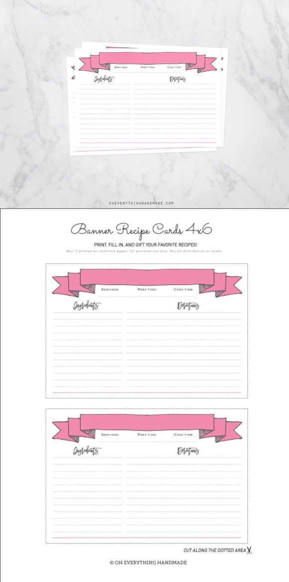 Pink Banner Recipe Cards 4x6 Fill in Creative, Wedding and Pink - recipe card